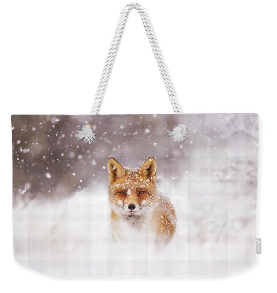Fairytale Fox Series - Silent Fox In A Snowy Scene Weekender Tote Bag