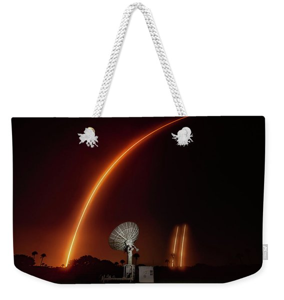 Falcon Heavy Night Launch And Landing Weekender Tote Bag