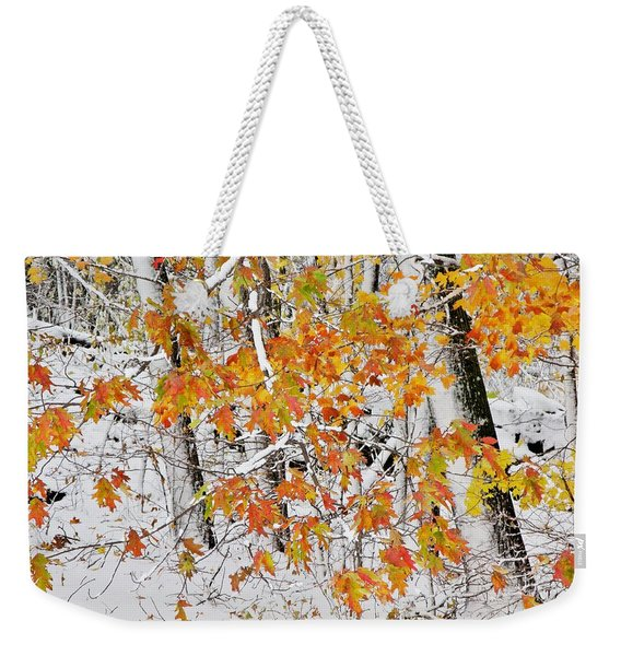 Fall And Snow Weekender Tote Bag