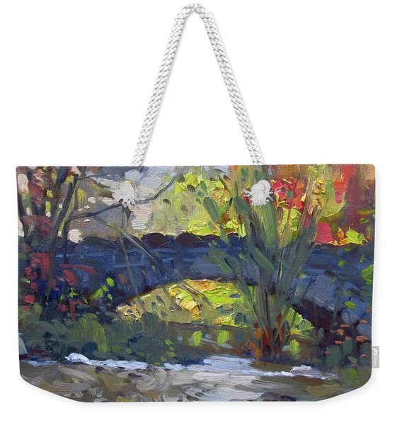 Fall At Stone Bridge In Goat Island Weekender Tote Bag