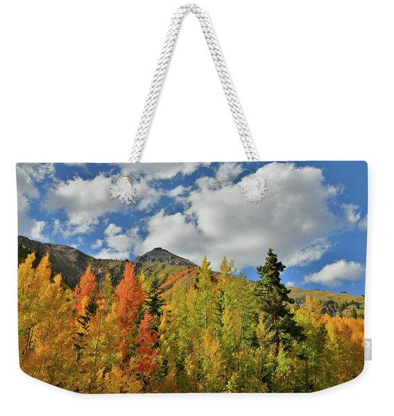 Fall Colored Aspens Bask In Sun At Red Mountain Pass Weekender Tote Bag