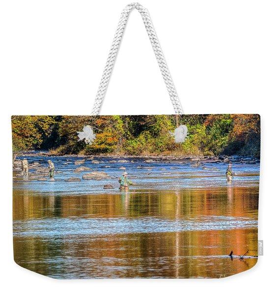 Fall Fishing Reflections Weekender Tote Bag