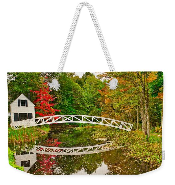Fall Footbridge Reflection Weekender Tote Bag
