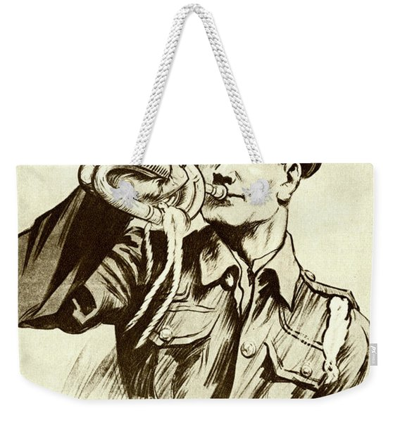 Fall In  Recruitment Poster For The British Army In The First World War, 1915 Weekender Tote Bag