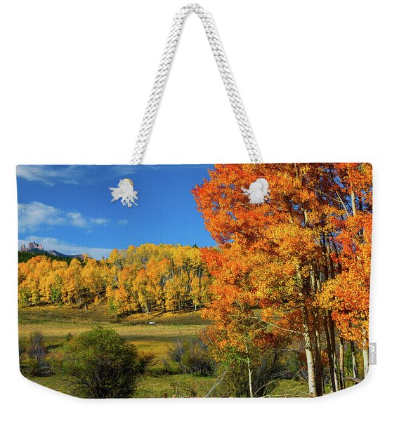 Weekender Tote Bag featuring the photograph Fall In The Elks by John De Bord