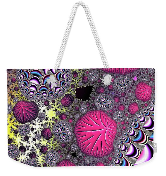 Weekender Tote Bag featuring the digital art Fantasy World Red Modern Art by Don Northup