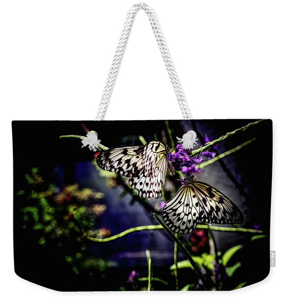Weekender Tote Bag featuring the photograph Farfalla by Robin Zygelman