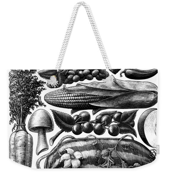 Weekender Tote Bag featuring the drawing Farmer's Market - Bw by Clint Hansen