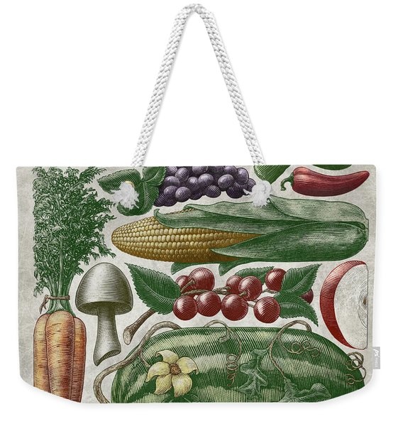 Weekender Tote Bag featuring the drawing Farmer's Market - Color by Clint Hansen