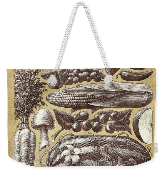 Weekender Tote Bag featuring the drawing Farmer's Market - Sepia by Clint Hansen