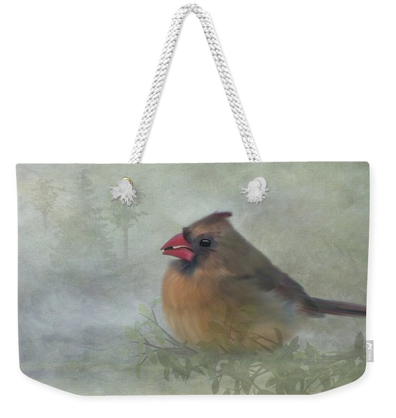 Female Cardinal With Seed Weekender Tote Bag