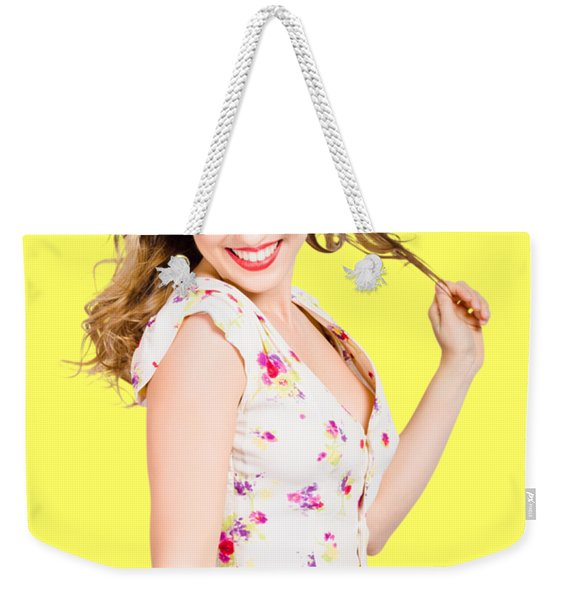 Female Model With Perfect Skin And Curly Hairstyle Weekender Tote Bag