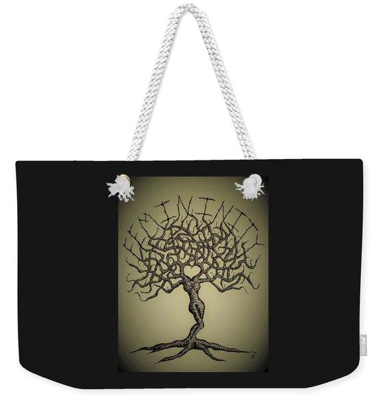 Weekender Tote Bag featuring the drawing Femininity Love Tree B/w by Aaron Bombalicki