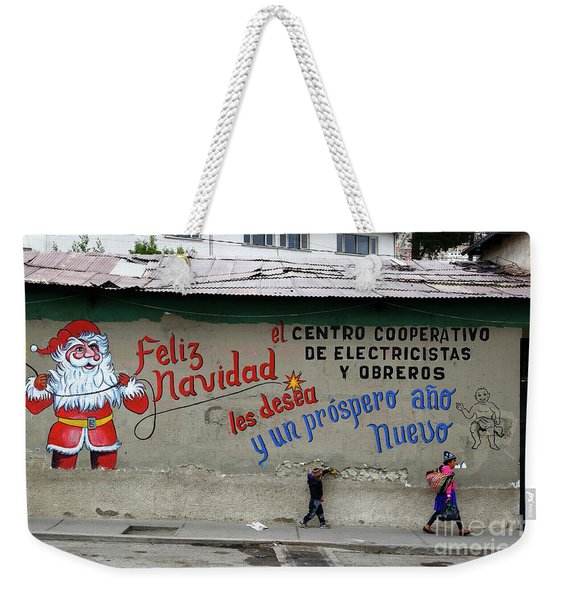 Festive Father Christmas Mural Weekender Tote Bag