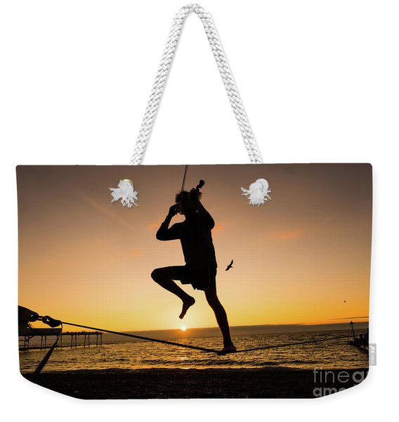 Fiddle Playing At Sunset In Aberystwyth Weekender Tote Bag