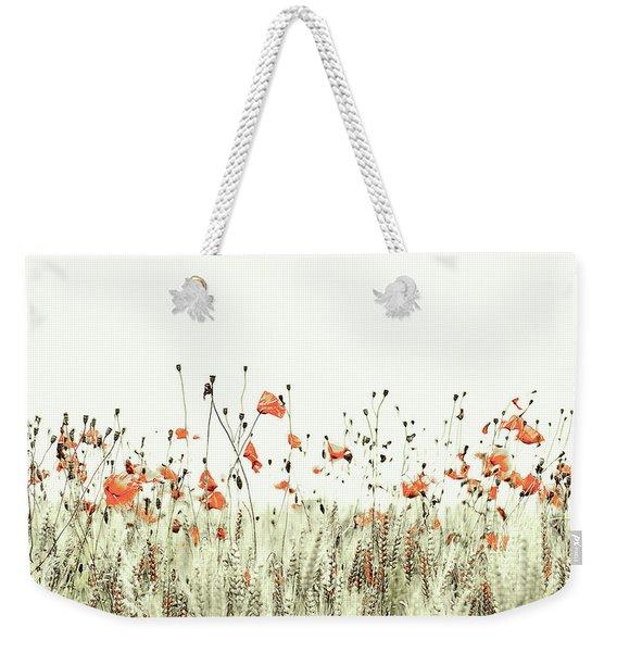 Field Of Coral Poppies Weekender Tote Bag