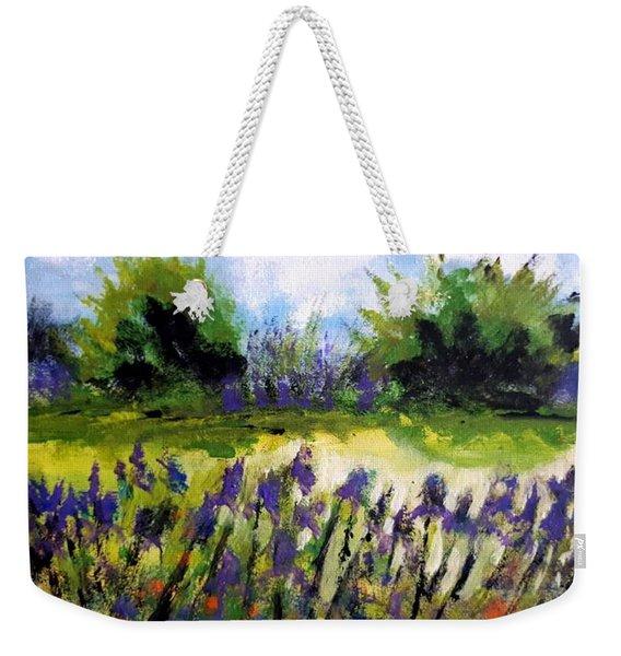 Field Of Irises Weekender Tote Bag