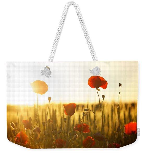 Field Of Poppies At Dawn Weekender Tote Bag