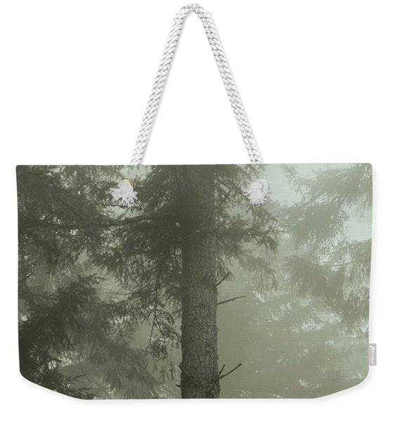 Weekender Tote Bag featuring the photograph Fir And Fog - Toned by Charmian Vistaunet
