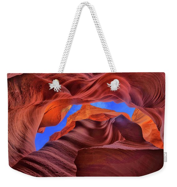 Fire Beneath The Sky In Antelope Canyon Weekender Tote Bag
