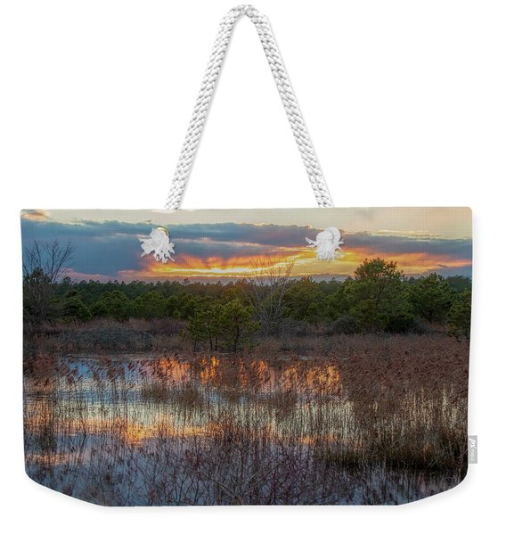 Fire In The Sky Over The Pines Weekender Tote Bag