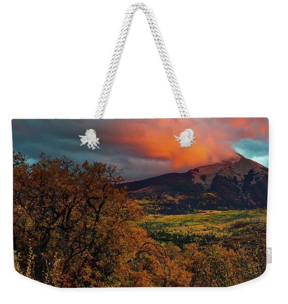 Weekender Tote Bag featuring the photograph Fire Sky by John De Bord