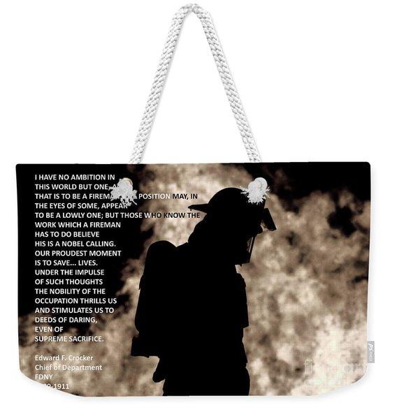 Firefighter Poem Weekender Tote Bag