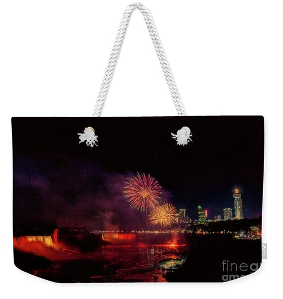 Fireworks Over The Falls. Weekender Tote Bag