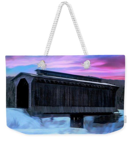 Fisher Raiilroad Covered Bridge Wolcott Vermont. Weekender Tote Bag