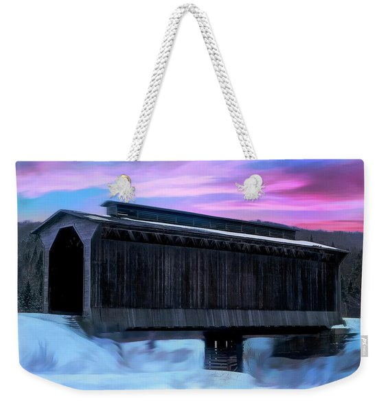 Fisher Raiilroad Covered Bridge Wolcott Vermont. Weekender Tote Bag