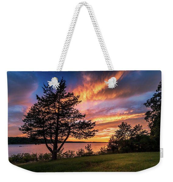 Fishing At End Of Day Weekender Tote Bag