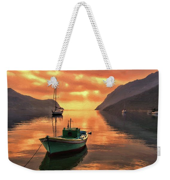 Fishing Boats At Sunset Simi Greek Islands-dwp40406001 Weekender Tote Bag