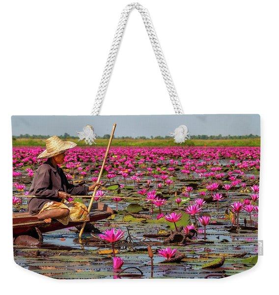Fishing In The Red Lotus Lake Weekender Tote Bag