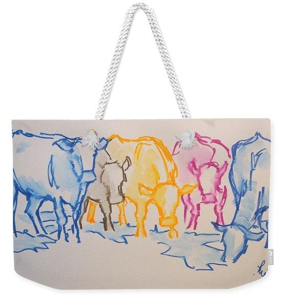 Five Cows Five Colors Watercolor Line Drawing Weekender Tote Bag