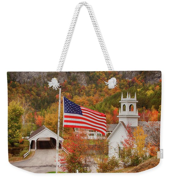 Flag Flying Over The Stark Covered Bridge Weekender Tote Bag