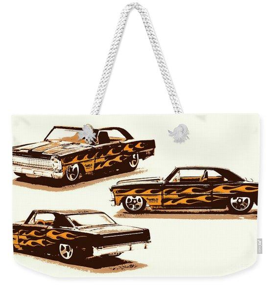 Flamin Chevrolet 66 Nova Weekender Tote Bag