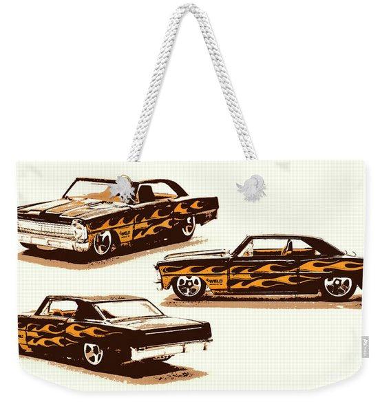 Flamin Chevrolet 66 Nova Weekender Tote Bag