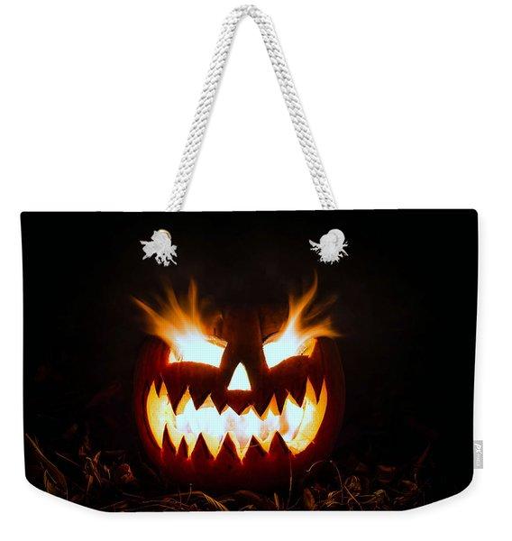 Flaming Pumpkin Weekender Tote Bag