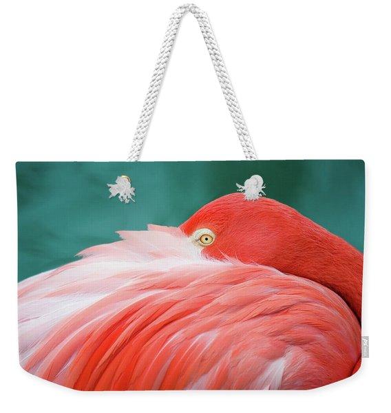 Flamingo At Rest Weekender Tote Bag