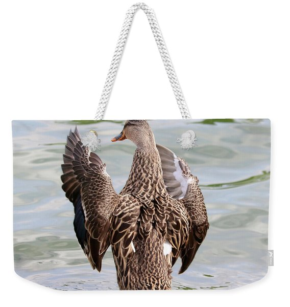 Flapping Female Mottled Duck Square Weekender Tote Bag