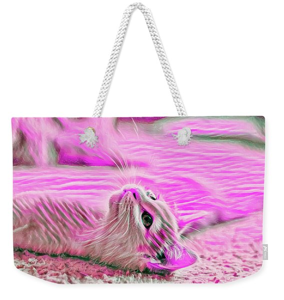 Weekender Tote Bag featuring the digital art Flat Cat Pink by Don Northup