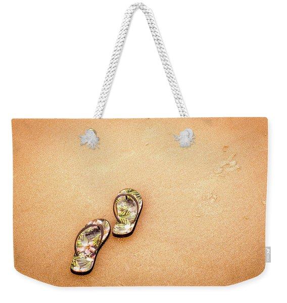Flip-flops On The Sand. Weekender Tote Bag