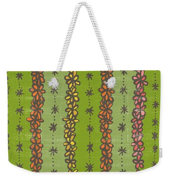 Floral Stripes Pattern Weekender Tote Bag