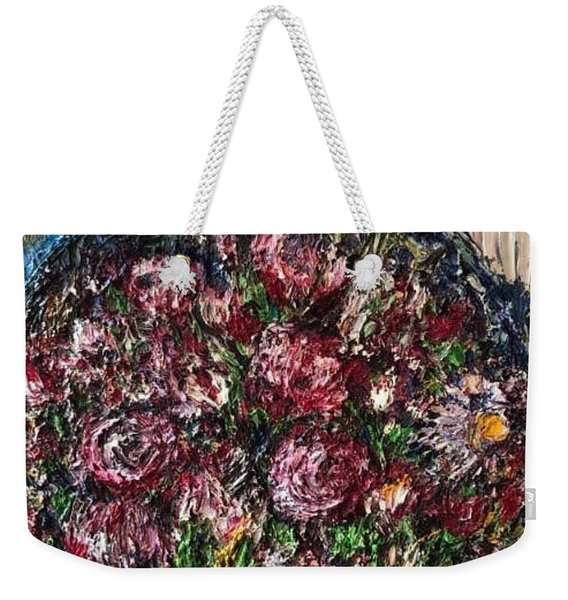 Weekender Tote Bag featuring the painting Flower Basket by Laurie Lundquist