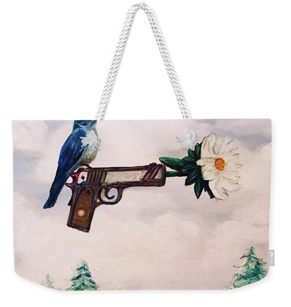 Flower In A Gun- Bluebird Of Happiness Weekender Tote Bag