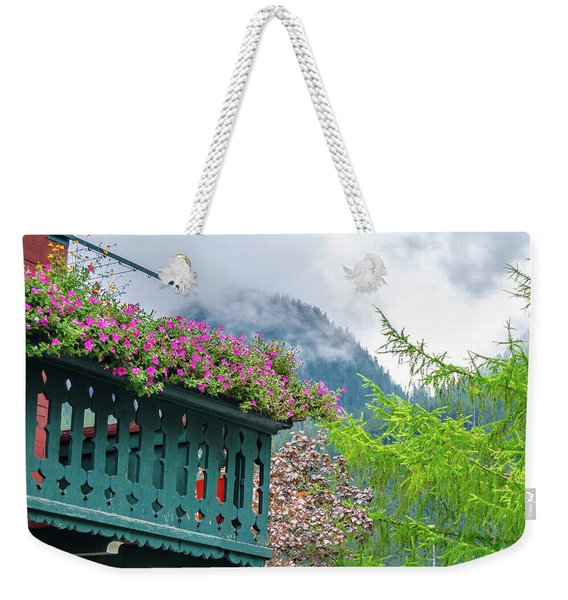 Flowered Balcony Weekender Tote Bag