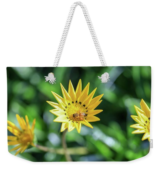 Yellow Flowers And A Bee Weekender Tote Bag