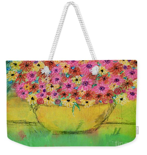 Weekender Tote Bag featuring the painting Flowers For Debbie by Kim Nelson