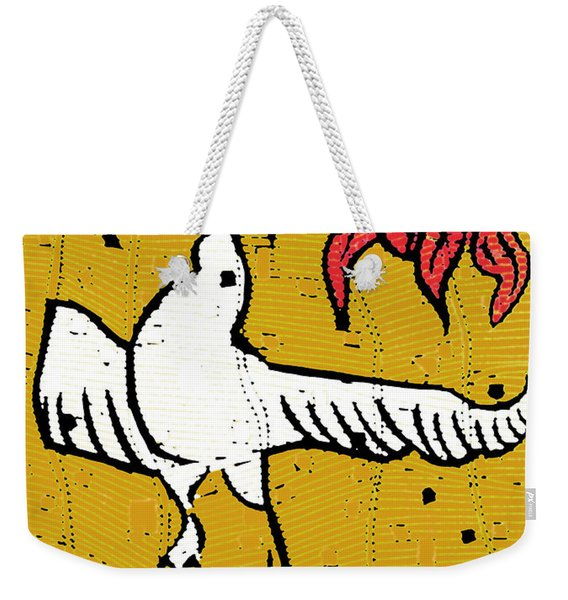 Flying Bird And Red Sun Face Weekender Tote Bag
