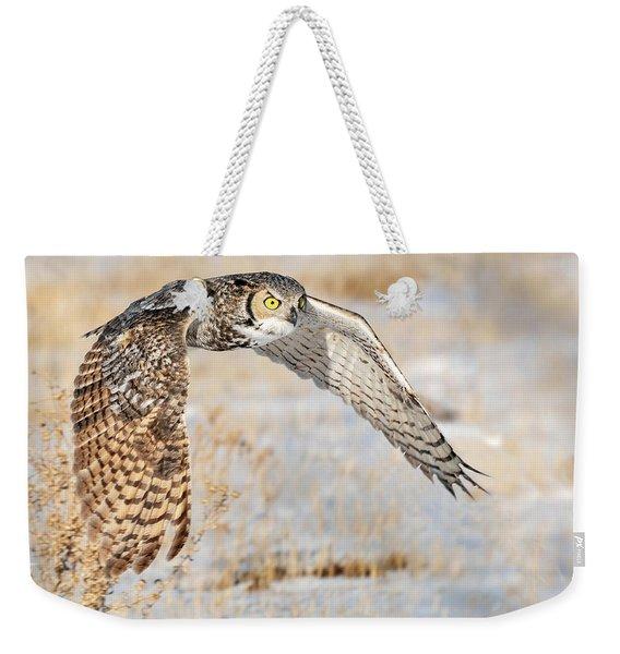 Flying Great Horned Owl Weekender Tote Bag